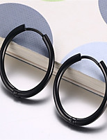 WOMEN Stainless Steel black Hoop Earrings