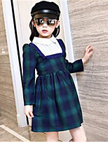 Girl's Casual/Daily Check Dress,Cotton Spring / Fall Green / Red