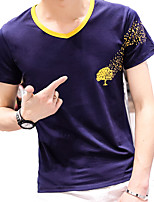 Men's Leisure  Cotton Spandex V-Neck Slim Print Short Sleeve T-Shirt