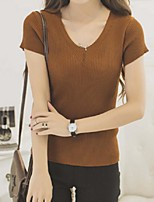 Women's Solid White / Black / Brown / Gray Pullover,Street chic Short Sleeve