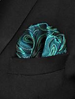 Men Paisley  Green 100% Silk  Pocket Square Business Fashion
