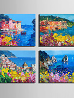 Mini Size E-HOME Oil painting Modern The City Scenery By The Sea Pure Hand Draw Frameless Decorative Painting