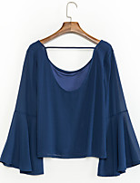 Women's Casual/Daily Simple Summer Blouse,Solid Round Neck Long Sleeve Blue Others Thin