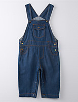 Girl's Patchwork Overall & Jumpsuit,Cotton Summer Blue