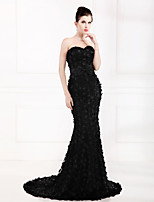 Formal Evening Dress Trumpet/Mermaid Strapless Sweep/Brush Train Satin / Tulle / Stretch Satin