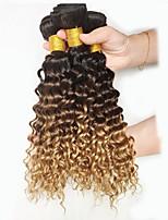 7a peruano extensiones de cabello ombre rizos profundos 3pcs peruana rizada del pelo humano de la onda profunda ombre lía T1b / 4/27