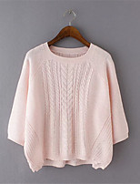 Women's Solid Pink Pullover,Street chic ½ Length Sleeve