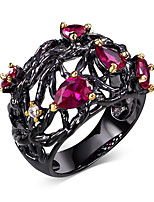 New Arrival Jewelry Black Gold Plated Fuchsia Drop Cubic Zirconia Lead Free Evening cocktail ring for women