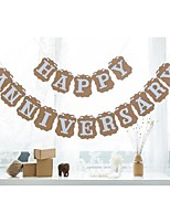 Vintage Happy Anniversary Party Bunting Wedding Banner Flags Decoration
