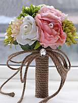 Ramos(Multicolor,Poliéster / Satén / Organza / Encaje / Flor Seca) -Rosas / Peonías