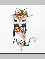 Lager Hand Painted Modern Fashion Kitty Animal Oil Painting On Canvas Wall Art Picture For Home Whit Frame 100x100cm