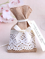 6 Piece/Set Jute Candy Favor Bags Burlap Lace Tableware Pouch Cutlery Holder Wedding Decoration Favors (16*9cm)