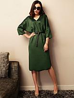 VERRAGEE® Women's V Neck 3/4 Length Sleeve Knee-length Dress-L075