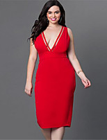 Women's Sexy / Simple Solid Bodycon / Sheath Dress,Deep V Knee-length Polyester