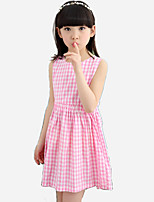 Girl's Casual/Daily Plaid Dress,Cotton / Polyester All Seasons Blue / Pink