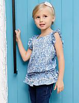 Girl's Blue Shirt,Print Cotton Summer