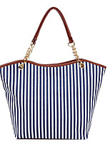 Women-Casual-Canvas-Shoulder Bag-Blue / Red