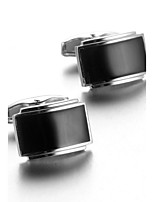 Men's Fashion Black Stone Silver Alloy French Shirt Cufflinks (1-Pair)