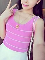Women's Striped Blue / Pink / White / Black Vest,Street chic Sleeveless