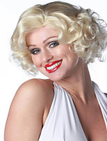 Women's Fashionable Blonde Color Middle Length Curly Synthetic Wigs