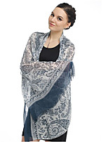 Retro Fringed Print Chiffon Long Scarf Muslin Beach Towel Shawl