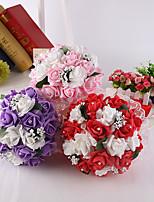 Bouquets de Noiva Redondo Rosas Buquês Casamento / Festa / noite Rosa / Vermelho / Roxo Cetim / Espuma / Crostal / Strass