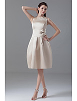 Cocktail Party Dress-Champagne Fit & Flare Jewel Knee-length Satin