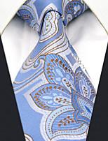Men's100% Silk  Tie Light Blue  Floral Necktie Jacquard Woven