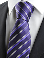 KissTies Men's Purple Striped Necktie Wedding Formal Business Work Casual Tie With Gift Box