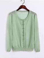 Women's Solid Blue / Pink / White / Beige / Black / Green / Purple Cardigan,Simple / Street chic Long Sleeve