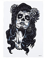 8PCS Long Hair Skull Beauty Belle Flower Design Cosplay Temporary Women Men Arm Waist Body Art Tattoo Sticker Hallowmas