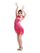 Latin Dance Dresses Children's Performance Spandex Tassel(s) Flowers Kid's Dance Costumes with Earrings