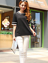 Women's Striped Black Pullover,Street chic Short Sleeve