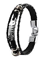 High Quality PU Leather Super Shining Zinc Alloy Fish Bone Skeleton Men's Multi-layer Bracelet