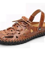 Zapatos de Hombre-Sandalias-Exterior / Casual-Cuero de Napa-Negro / Marrón