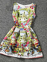 Girl's Yellow Dress,Print Polyester Summer