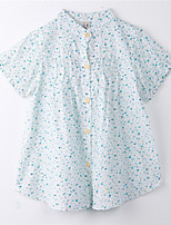 Girl's Print Tee,Cotton Summer Blue