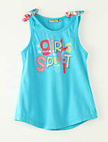 Girl's Going out Print Clothing Set,Polyester Summer Blue