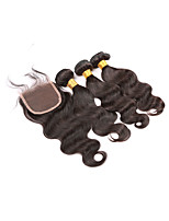 Brazilian Virgin Human Hair Weft With Closure Body Wave 3 Bundles Hair Weave Extensions With Lace Closure