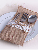 6 Piece/Set Jute Favor Bags Burlap Lace Tableware Pouch Cutlery Holder Wedding Decoration Favors (10.5cm*20.5cm)