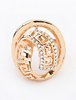 Round Hollow Diamond Ring Rose Gold Plated Vintage Wedding Jewelry Fashion Cubic Zircon Rings For Women