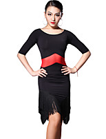 Latin Dance Dresses Women's Training Rayon Tassel(s) 2 Pieces Black / Purple Latin Dance Short Sleeve Natural Dress / Shorts