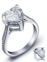 2016 Heart Luxurious Engagement Classic Diamond 925 Sterling Silver Wedding Rings