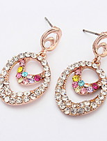 Charming Double Oval Rhinestone Full Water Drop Crystal Long Dangle Drop Earrings For Women Girls Piercing Jewelry