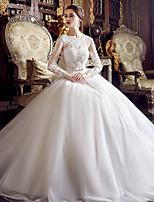 A-라인 웨딩 드레스 바닥 길이 쥬얼리 튤 와 아플리케 / 비즈