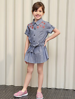 Girl's Gray Dress,Solid Cotton Summer