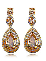 New jewelry Deluxe Drop shape 18K Gold plated Clear 4 colors Cubic zircon Drop earrings for women Wedding Earrings