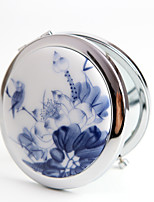 1 Pcs Portable Retro Handmake Glaze And Folding Ceramics Cosmetic Mirror