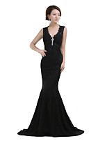Formal Evening Dress Trumpet / Mermaid V-neck Sweep / Brush Train Satin with Appliques