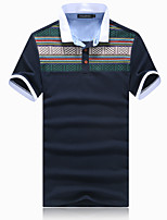 Men's National Wind Slim Printed Cotton Short Sleved Polo,Cotton / Polyester Casual Print